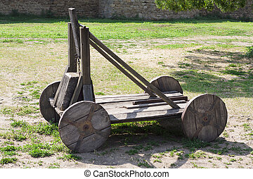 old wood catapult concept photo