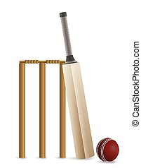 Cricket Bat, Ball, and Wicket