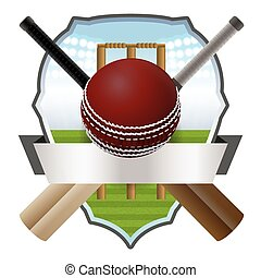 Cricket Bat and Ball Badge Illustration - Cricket bats and...