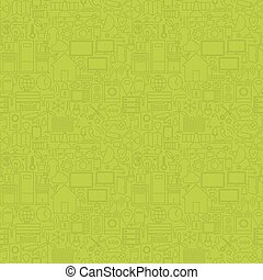 Green Thin Line House Technology Seamless Pattern Vector Web...