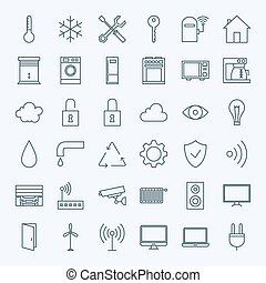 Line Home Technology Icons Set Vector Set of 36 House...