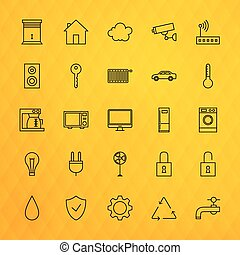 Smart House Technology Line Icons Set over Polygonal...