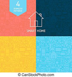 Thin Line Art Home Technology Pattern Set Four Vector Web...