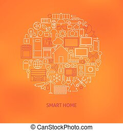 Thin Line Smart Home Icons Set Circle Concept. Vector...