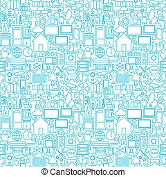 Thin Smart House Line Seamless White Pattern Vector Web...