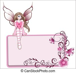 fairy on a flower frame pink