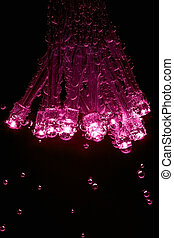 LEDs with gas bubbles are dipped in mineral water.