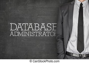 Database administrator on blackboard with businessman in a...