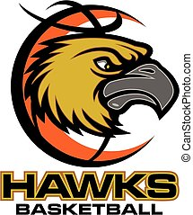 hawks basketball team design with mascot head for school,...