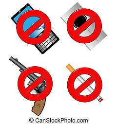Collection of prohibiting sign