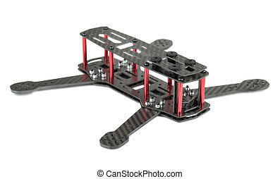 Carbon fiber quadrocopter frame isolated on white background