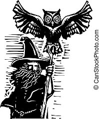 Wizard with Owl - woodcut style image of a wizard holding a...