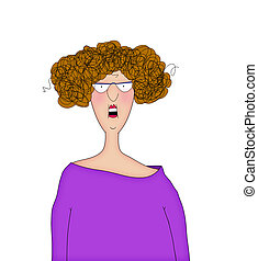 Funny Cartoon Lady With a Startled Expression - Cartoon of a...