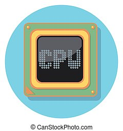 cpu chipeps - cpu chip circle icon with shadow