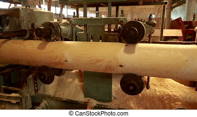 View of peeled logs moves by machine - View of peeled logs...