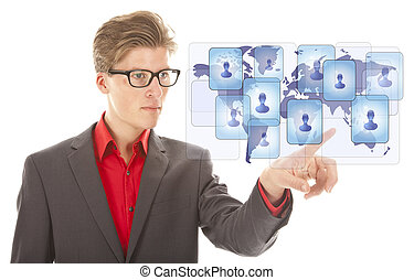 Young business man selecting virtual worldwide friends...