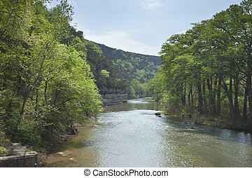 Guadalupe River in the Texas Hill Country during Spring -...