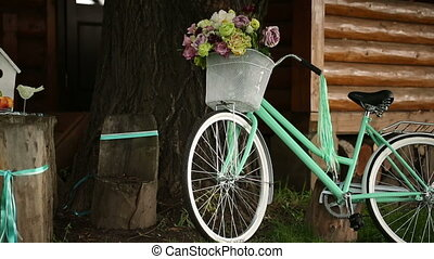 Bicycle Decoration on Wedding - bike for a photo standing...
