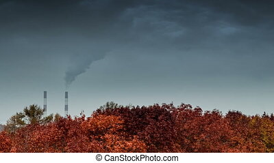 Smoke from the pipes - Coal fired power station producing...