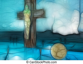 Forgiveness - Figure of Crucifixion made in 3d software and...