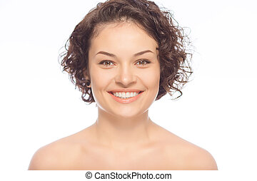 Happy young lady is smiling - Bright smile Attractive lady...