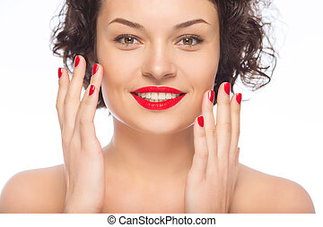 Young smiling lady upholding hands. - Looking fabulous....
