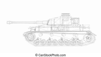 tank - 3D wireframe model of tank isolated on white...