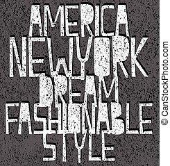 America New York typography, t-shirt graphics, vectors