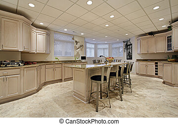 Large lower level kitchen