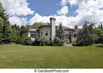 grande, lar, pedra, terraço,  pátio