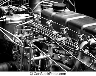 Engine detail - Close up of fragment of automobile engine,...