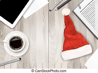 Office Background with Santa Hat, Tablet and Office Supplies. Business Concept. Vector.