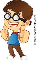 Nerd Geek - Cartoon illustration of a nerd geek isolated in...