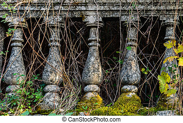 Stone bannister, ancient columns - Old fashioned stone...