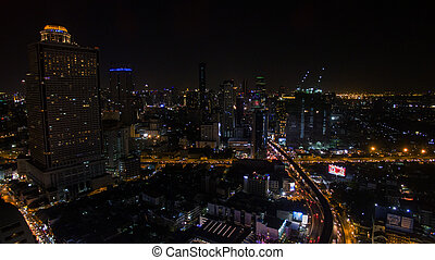 bangkok night scene skyscraper