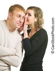 Talk - Young couple talking Isolated on a white background