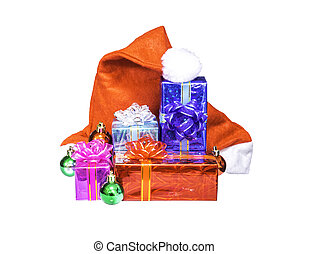 Chistmas gift box with Santa Claus red hat isolated on white...