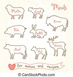 Set drawings of meat symbols, beef, pork, lamb, mutton,...