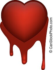 red heart on blood - Vector illustration of heart on grunge...