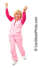 active happy elderly lady isolated on white background