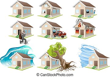 Set homes misfortune. House insurance. Property insurance....