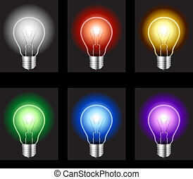 Light bulbs - Set of 6 glowing light bulbs on black...