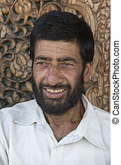 Portrait muslim man in Srinagar, Kashmir, India Close up