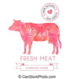 Image meat symbol beef silhouettes of animal for design...