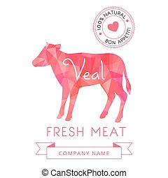 Image meat symbol veal silhouettes of animal for design...
