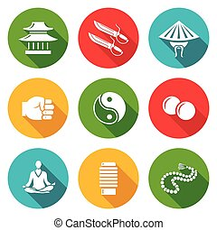 Wing Chun Icons Set Vector Illustration - Isolated Flat...