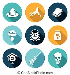 Witch Icons Set Vector Illustration - Isolated Flat Icons...