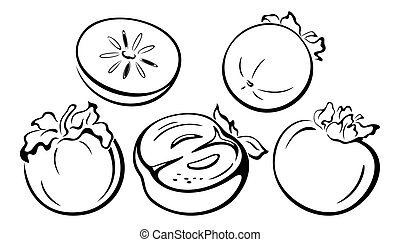 Fruits, Persimmon Black Pictograms - Fruits Set, Persimmon...