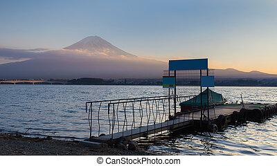 Sunset at Kawaguchi Lake - Fuji Mountain background sunset...