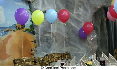 Decorated Restaurant with Balloons - colored child's...